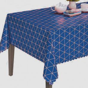 Triangles Blue, voksdug med grafiske trekanter i blå