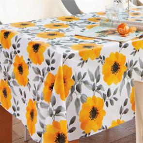 Store gule valmuer, voksdug med blomster