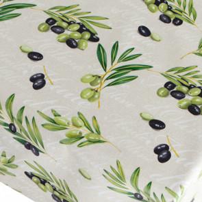 Huile D´Olive , voksdug med oliven på bund i flot hørlook