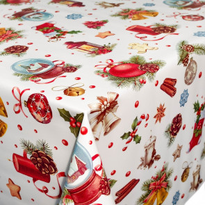 Voksdug med julelanterner med mere, 140 cm bred