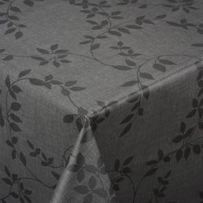 Voksdug med hørlook og klassisk bladmønster, antracit