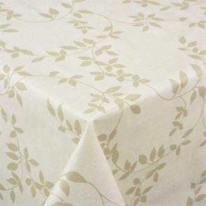 Voksdug med hørlook og klassisk bladmønster, beige