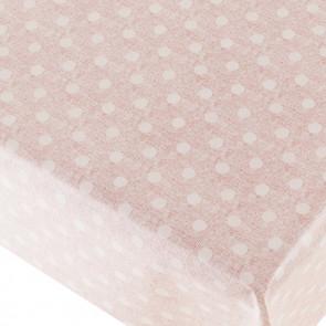 New Dot Pink - voksdug med prikker og flot præget hørlook