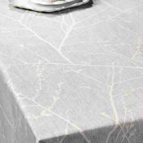 Skov Silhuet, voksdug med forårsgrene i grå/hvid