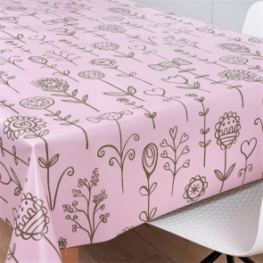 Smilende Solsikker rosa/pink, voksdug med stregblomster