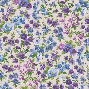 Symfoni af blomster - Voksdug med fineste blomster i sarte lilla og blå farver