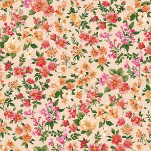 Symfoni af blomster - Voksdug med blomster i sarte orange og pink farver