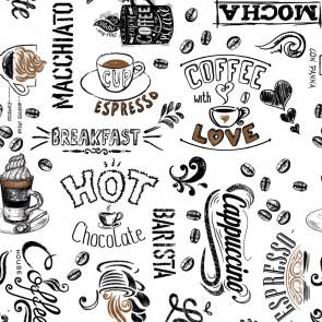 Værsgo, kaffen er serveret  - voksdug med tekster, kopper og kaffebønner